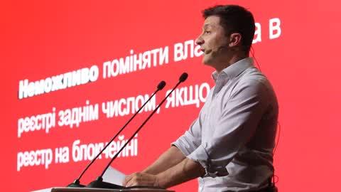 Ukraine's President Volodymyr Zelensky visits the iForum 2019 in Kiev