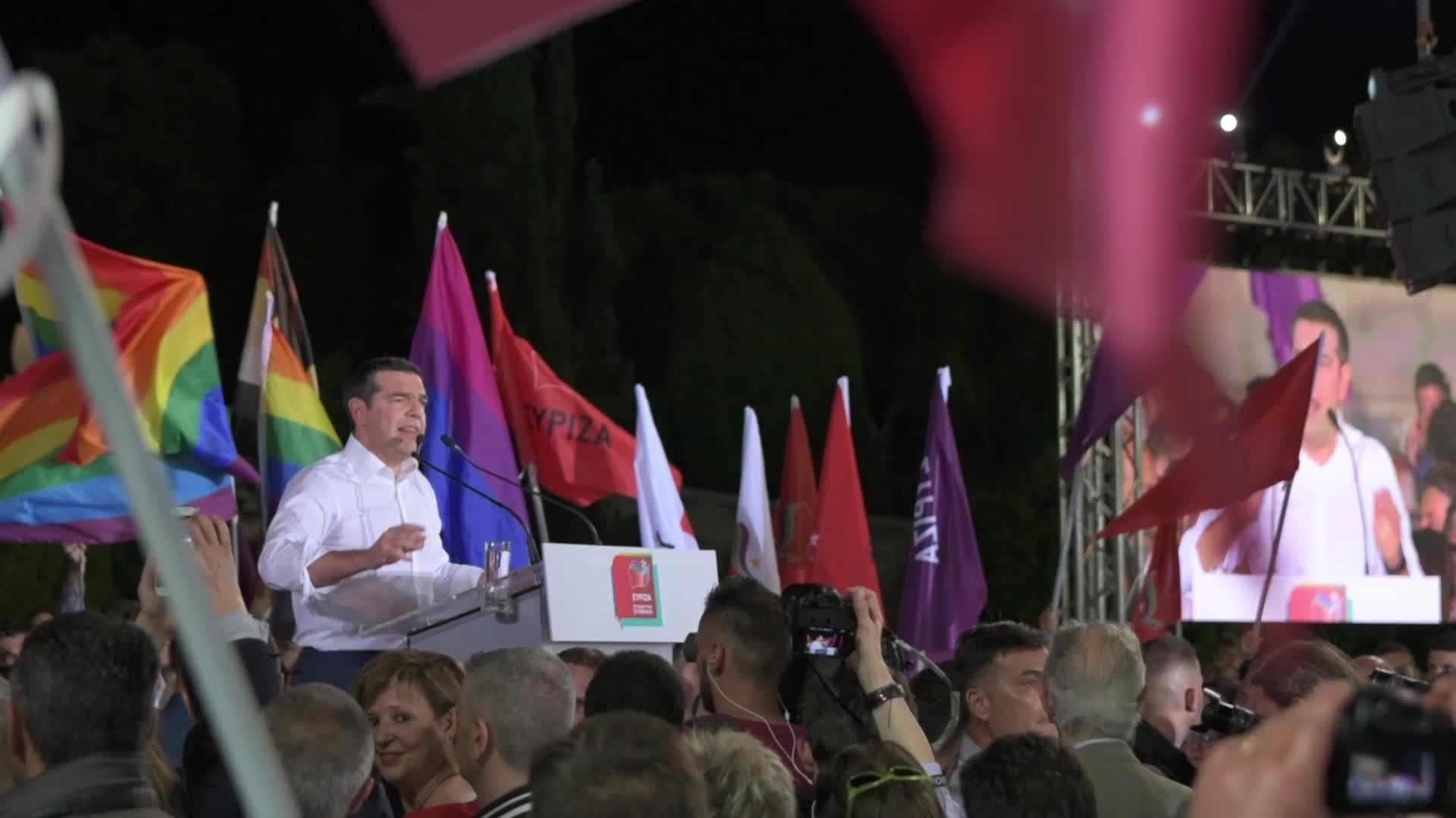 Alexis Tsipras Pre-election campaign speech in Athens, Greece
