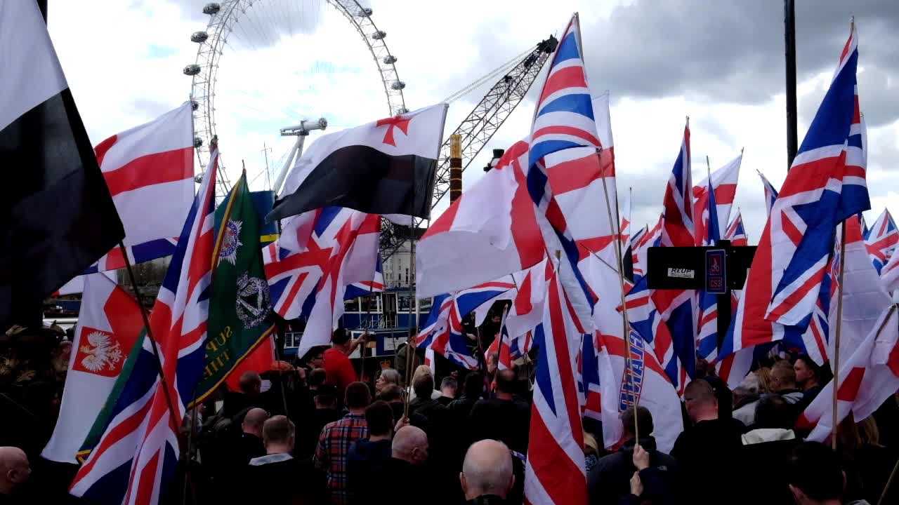 The English Defence League And Britain First March In London