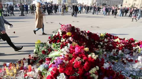 Aftermath of a blast in St. Petersburg metro