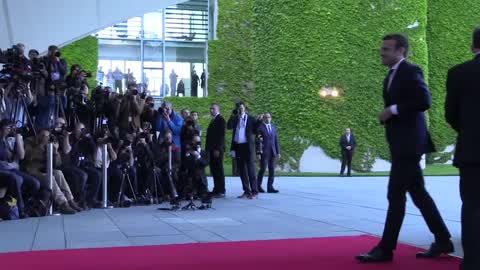 French President Emmanuel Macron visits Berlin