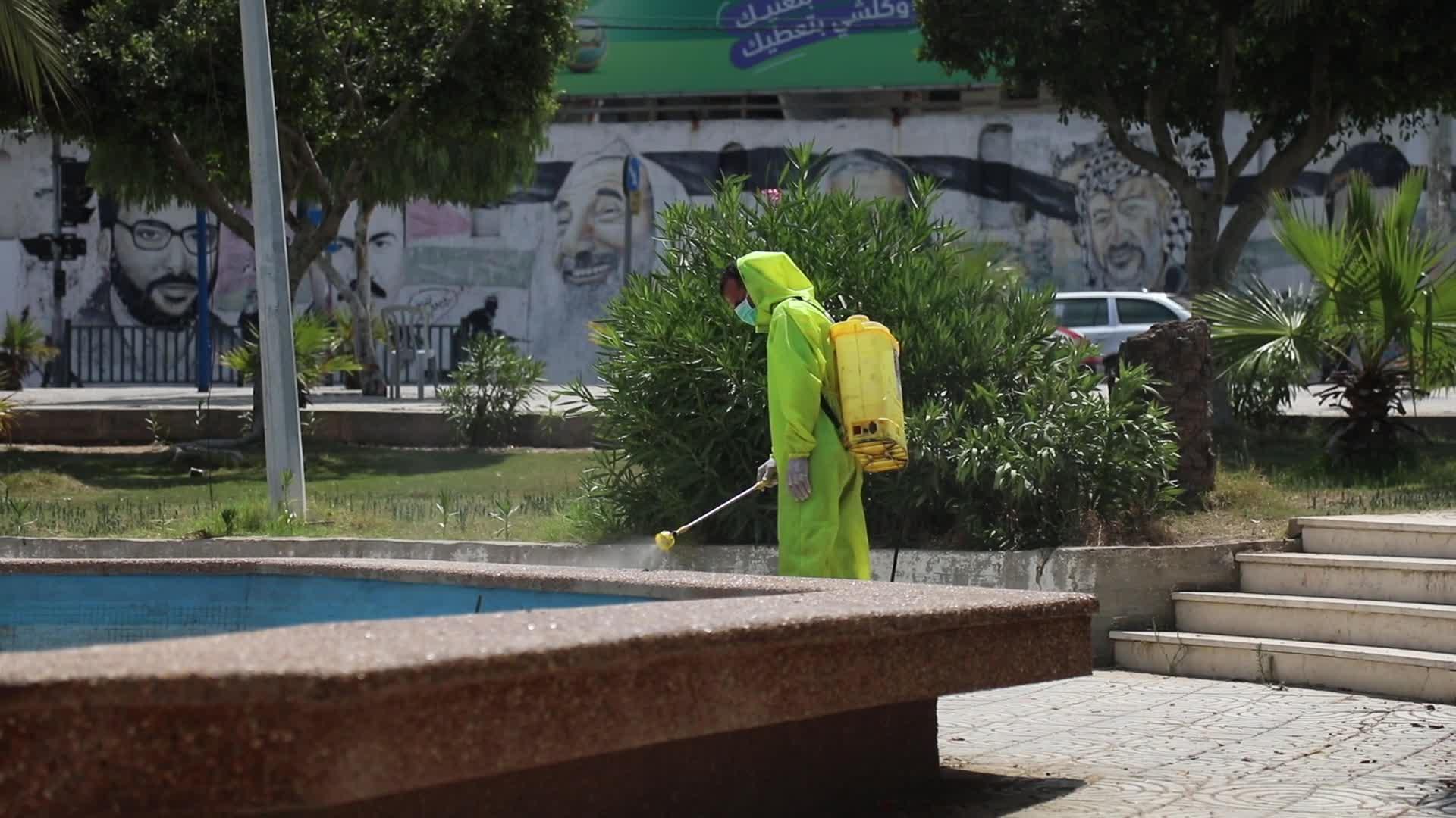 Sanitization of a public school in Gaza amid the Coronavirus outbreak