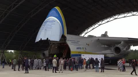 The biggest aircraft in the world Ukrainian Antonov An-225 'Mriya'  at aerodrome