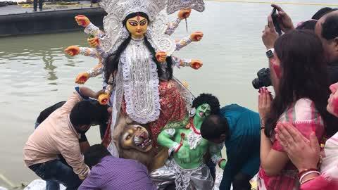 Durga idol immersion at river Ganges