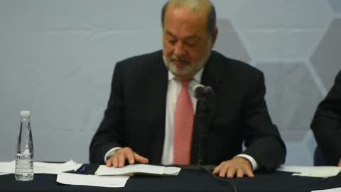 Businessman Carlos Slim press conference in Mexico City