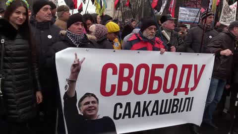 Rally to protest against Saakashvili's arrest and for the impeachment of president in Kiev