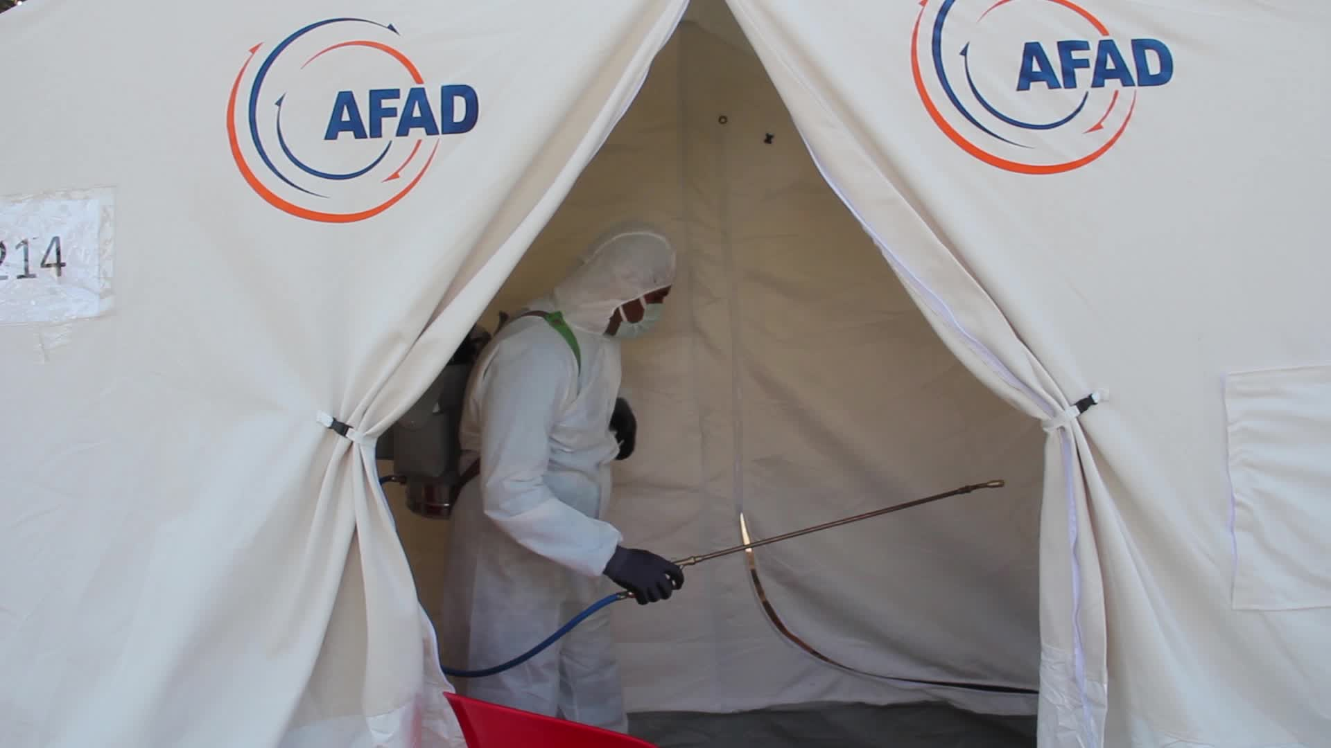 Disinfection and Sterilization team of Izmir Municipality sterilizes tent city in Izmir, in Turkey