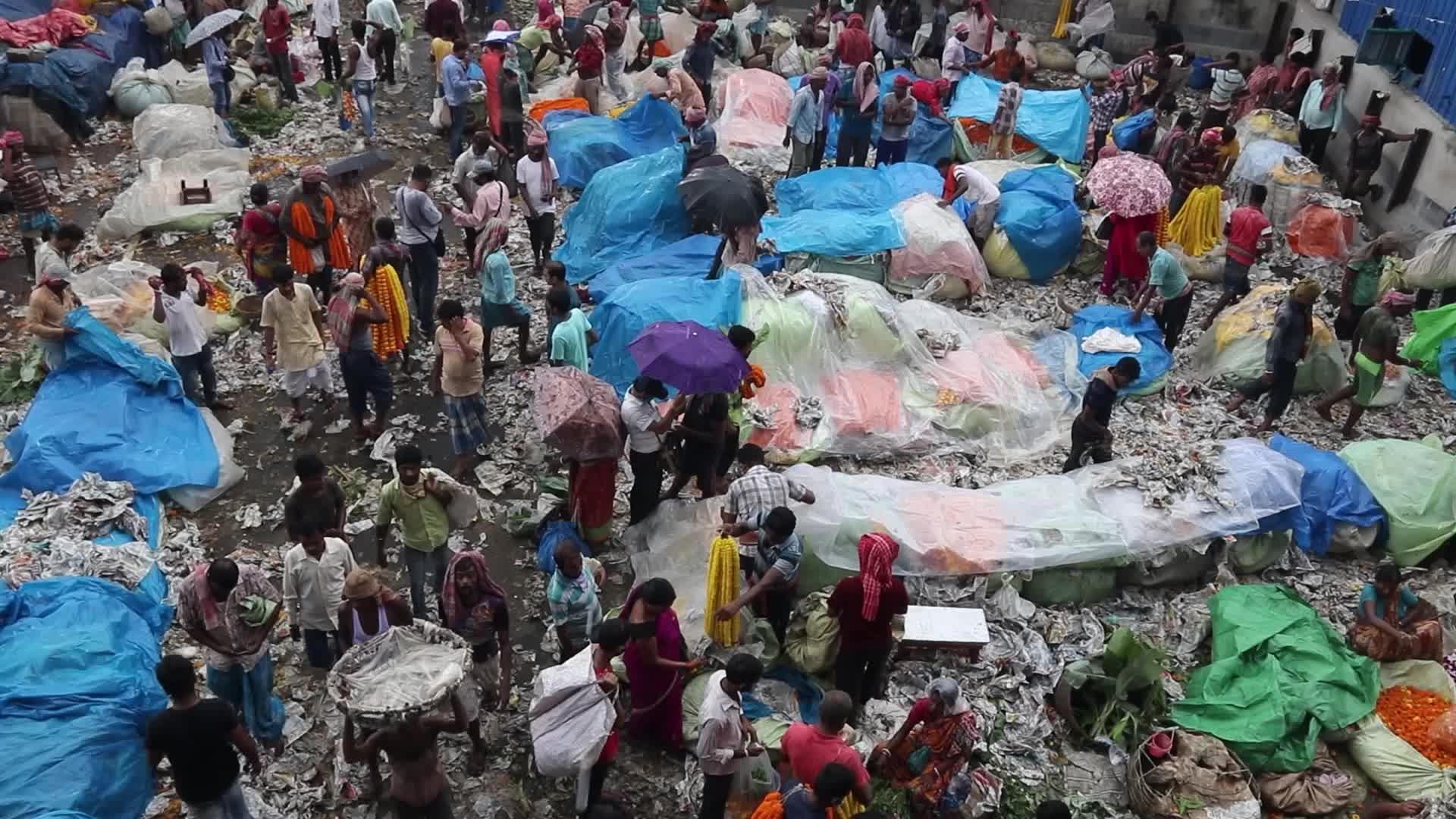 Flower market in Kolkata, India amid the Covid-19 pandemic