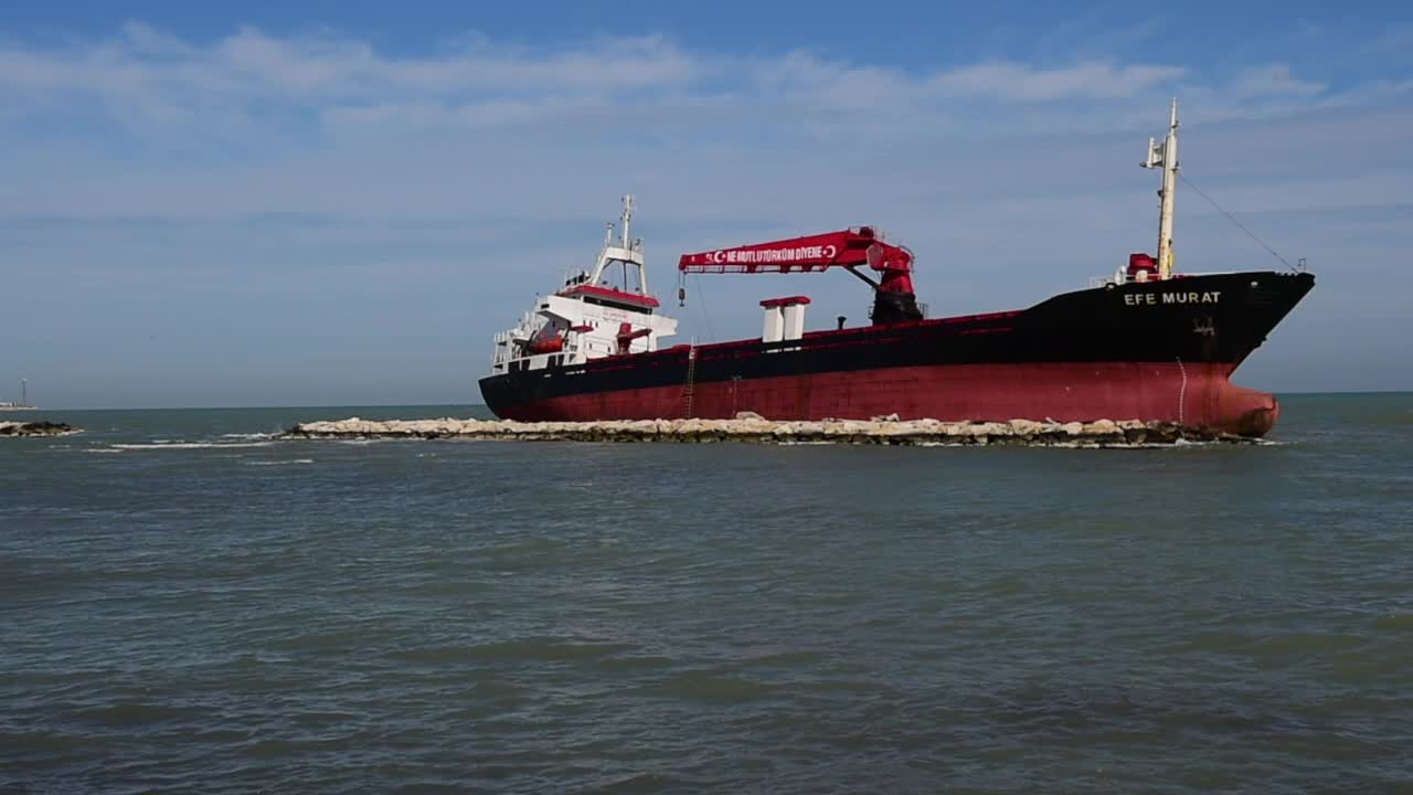 Turkish Cargo Ship Beached By Storm At Bari